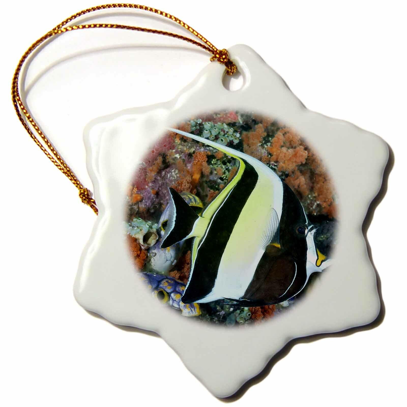 The Holiday Aisle Indonesia Papua Raja Ampat Scenic Of Moorish Idolfish And Coral Snowflake Holiday Shaped Ornament Wayfair