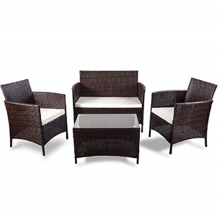 What Are The Best Quality Patio Conversation Set Red Barrel Studio Truckee 4 Piece Rattan Sofa Seating Group With Cushions