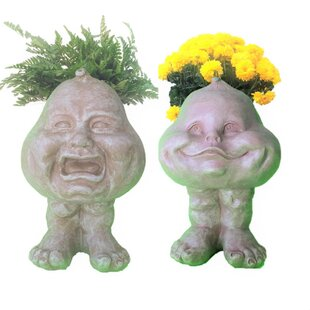 HomeStyles Muggly's The Face Crying Brother and Happy Baby 2-Piece Statue Planter
