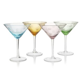 Brumit Polka Dot 8 Oz. Martini Glass (Set of 4)