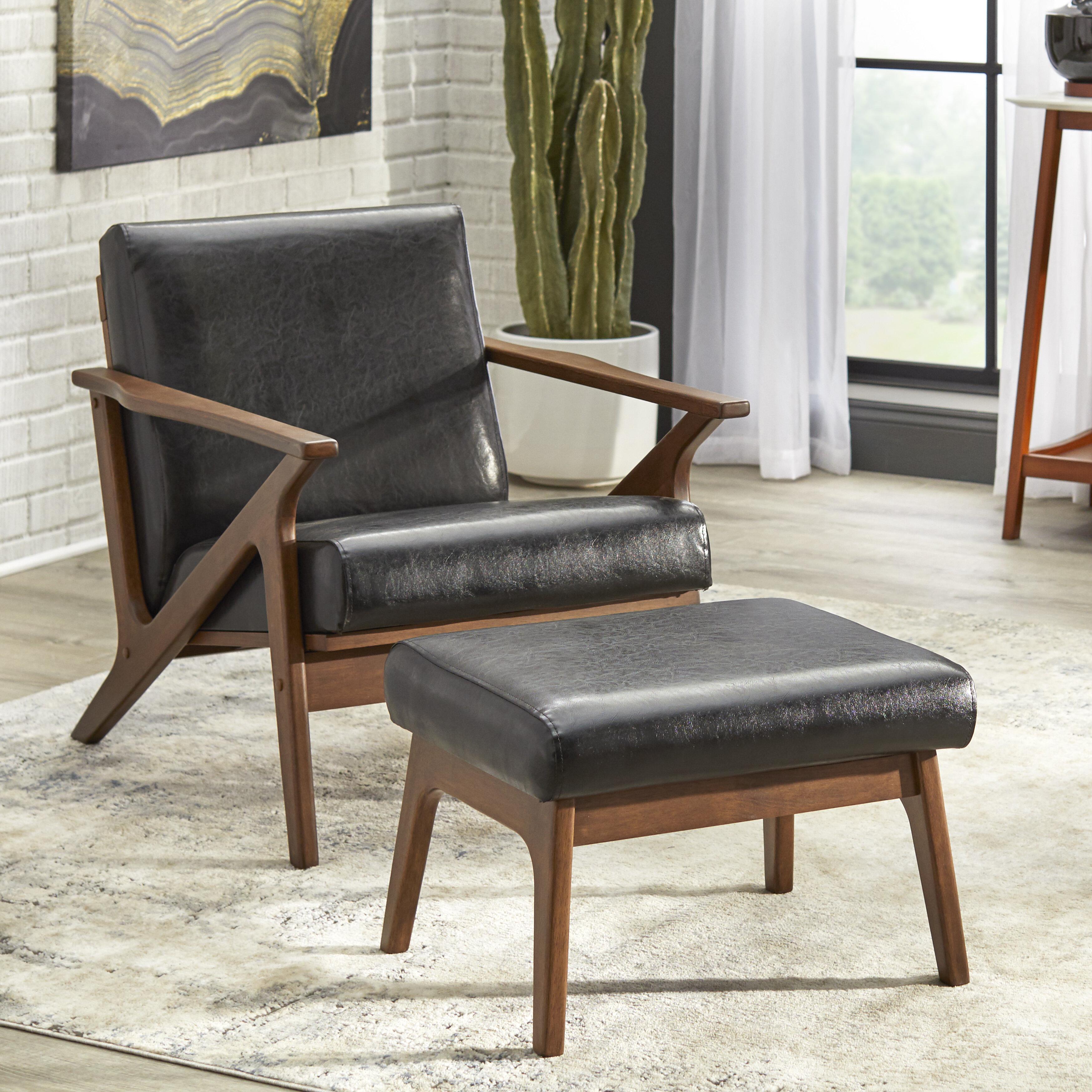 Union Rustic Choudhury 28 W Faux Leather Armchair And Ottoman Reviews Wayfair