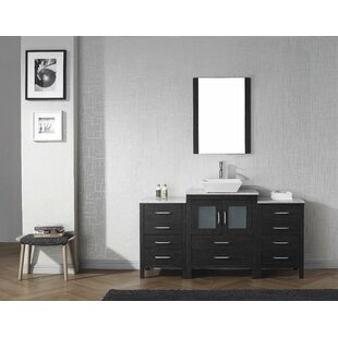 Cartagena 60 Single Bathroom Vanity Set with White Marble Top and Mirror by Mercury Row