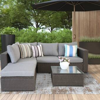 Latitude Run Chloe Mai Outdoor 5 Piece Rattan Sofa Seating Group With Cushions Wayfair