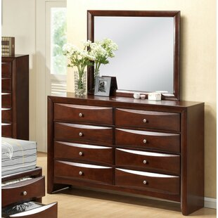 Derik 8 Drawer Double Dresser with Mirror