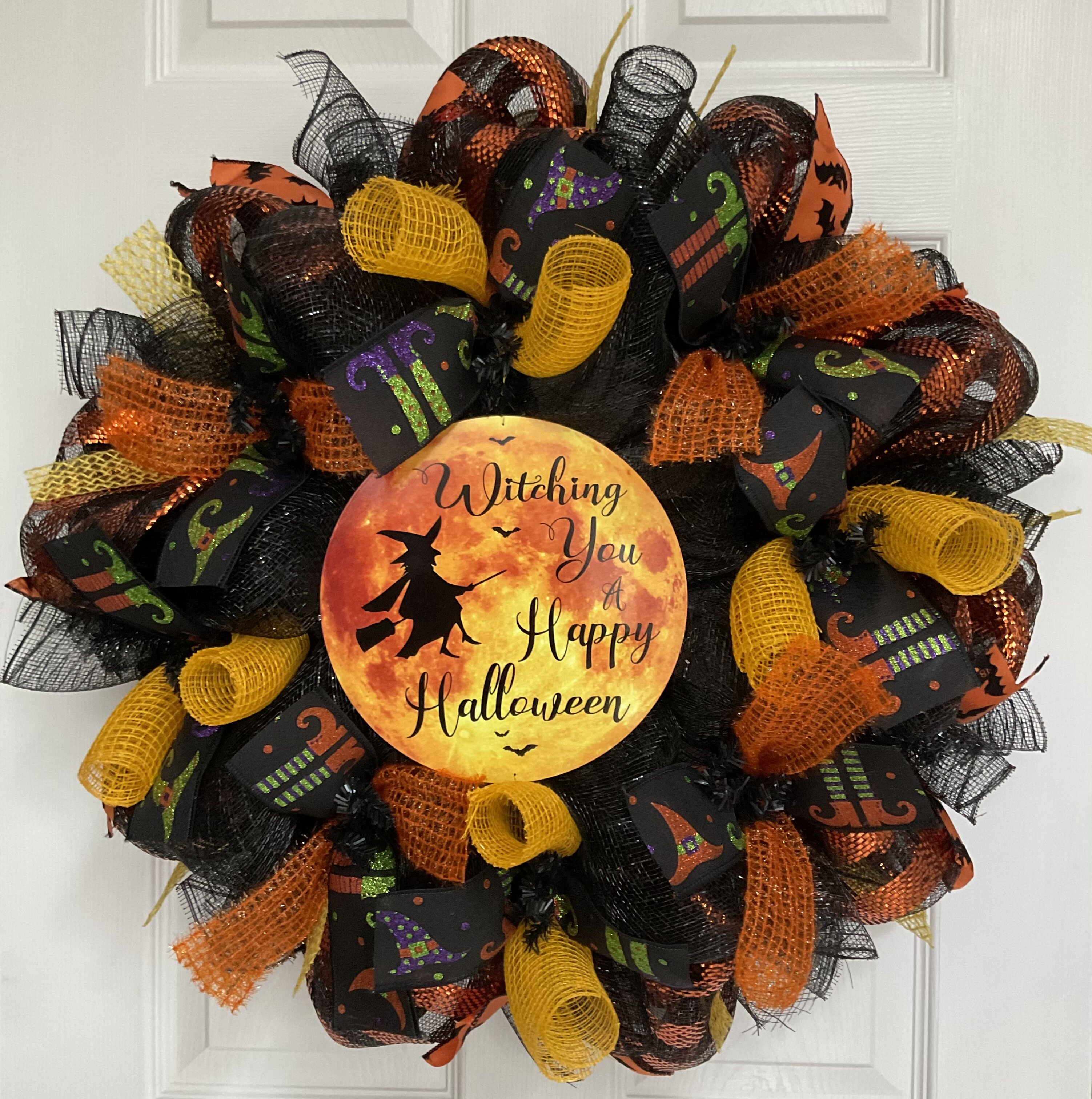 The Holiday Aisle® Witching You A Happy Halloween Wreath Handmade Deco Mesh    Wayfair