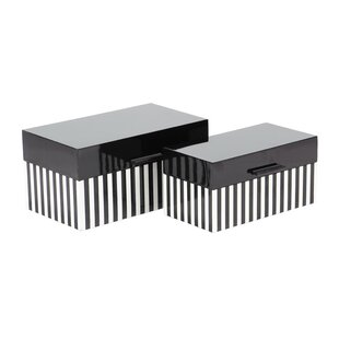 Mattalyn Modern Striped 2 Piece Decorative Box Set With Lid