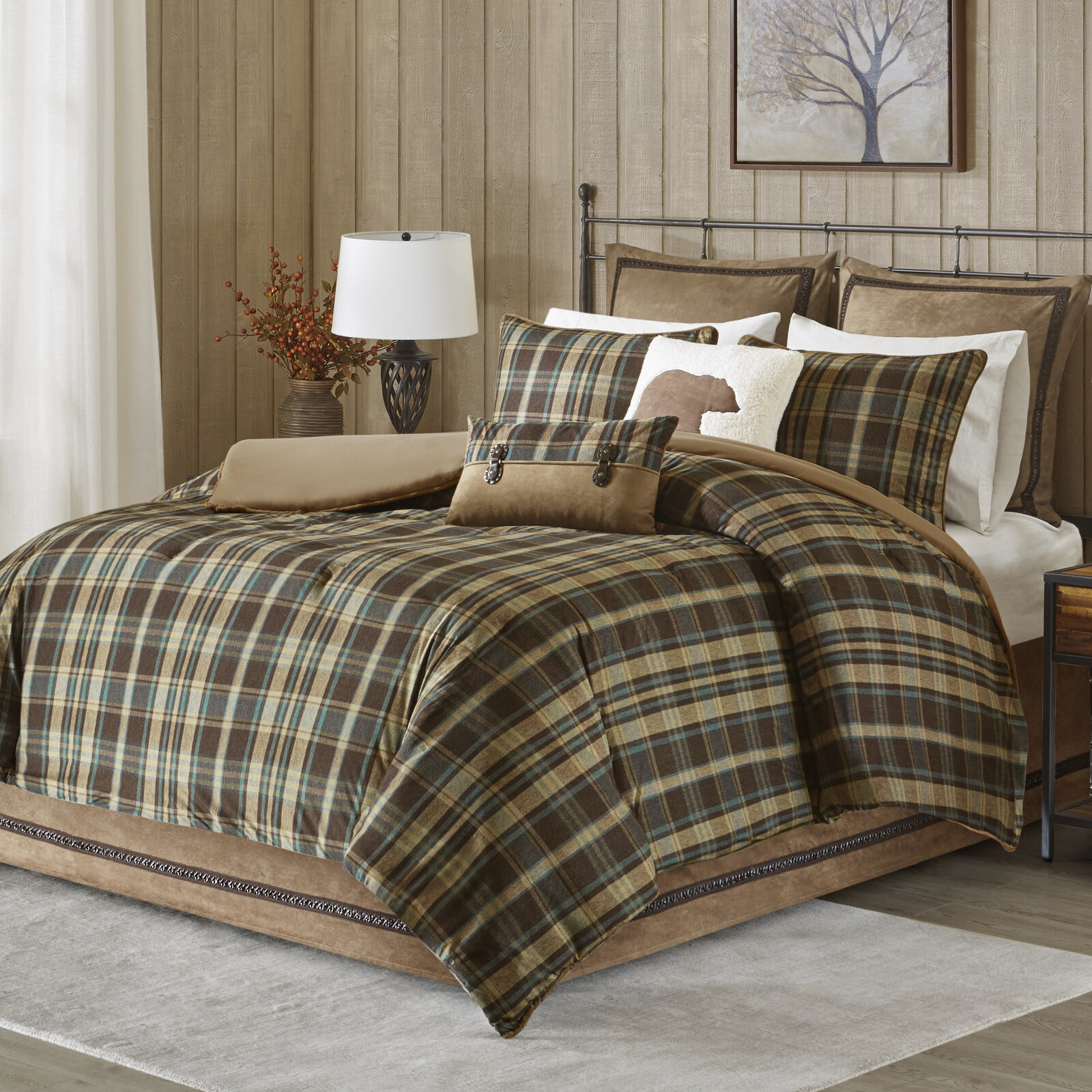 Image result for BROWN AND GREEN PLAID BEDSPREAD