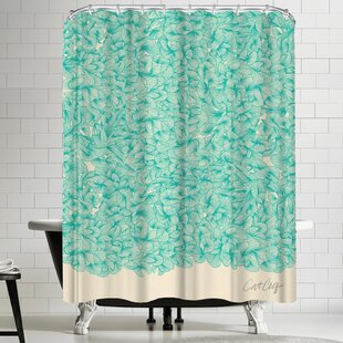 Abstract Turquoise Single Shower Curtain