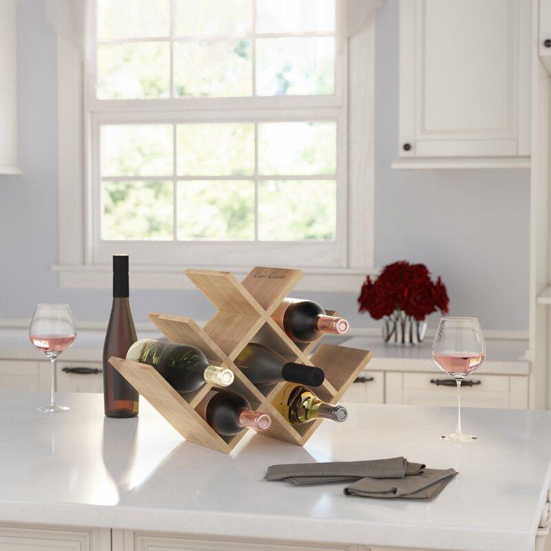 12 Bottle Bamboo Wine Rack Holder Wood Storage Kitchen Bar Countertop Table MA
