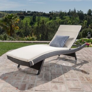 Ullman Adjustable Chaise Lounge with Beige Cushions by Highland Dunes