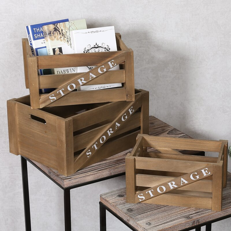 Storage Wood 3 Piece Crate Set