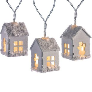 20 White LED Snow Decorated Wooden House Fairy String Lights By The Seasonal Aisle