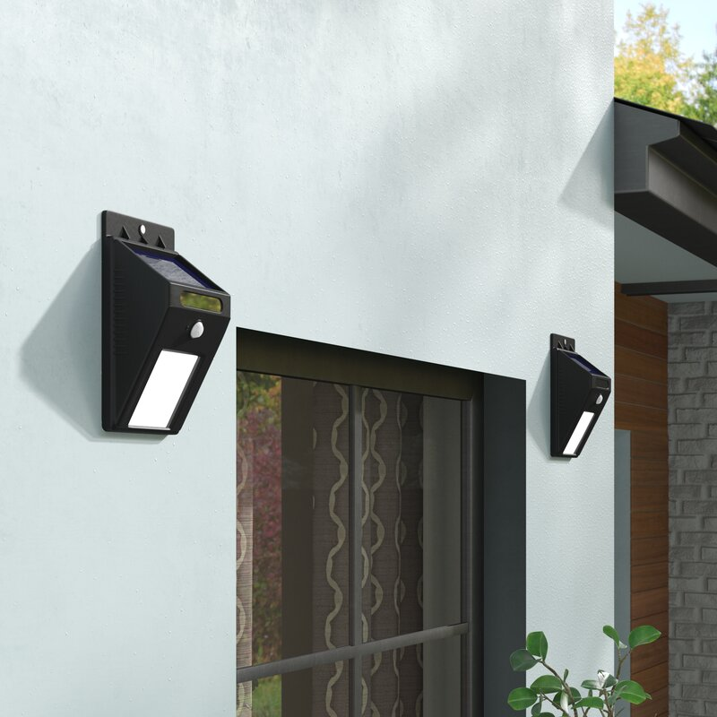 Symple Stuff Modern Motion Sensor Solar 2 Light Outdoor Spotlight Reviews Wayfair