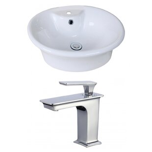 Reviews Ceramic Circular Vessel Bathroom Sink with Faucet and Overflow By American Imaginations