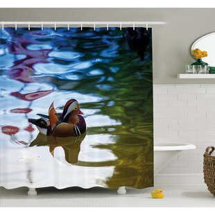 Wildlife Chinese Mandarin Ducks Sail in River East Asian Winged Creature Peace Habitat Shower Curtain Set