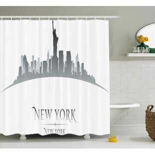 Chriz American New York City Silhouette With Statue of Liberty Famous Town Usa Monument Image Single Shower Curtain
