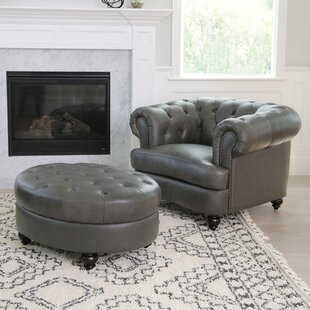 Barnabas Leather Tufted Cocktail Ottoman