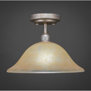 Kash 1-Light Marble Glass Semi-Flush Mount by Williston Forge