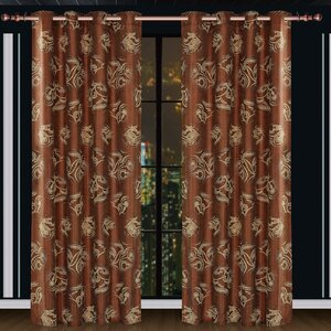 Dolce Mela Ceres Damask Blackout Thermalu00a0 Grommet Single Curtain Panel
