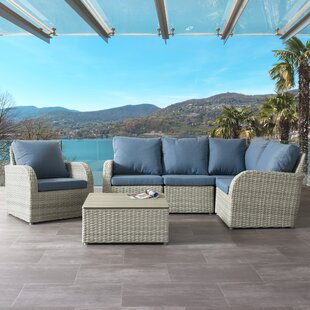 Costanzo 6 Piece Rattan Sectional Set with Cushions