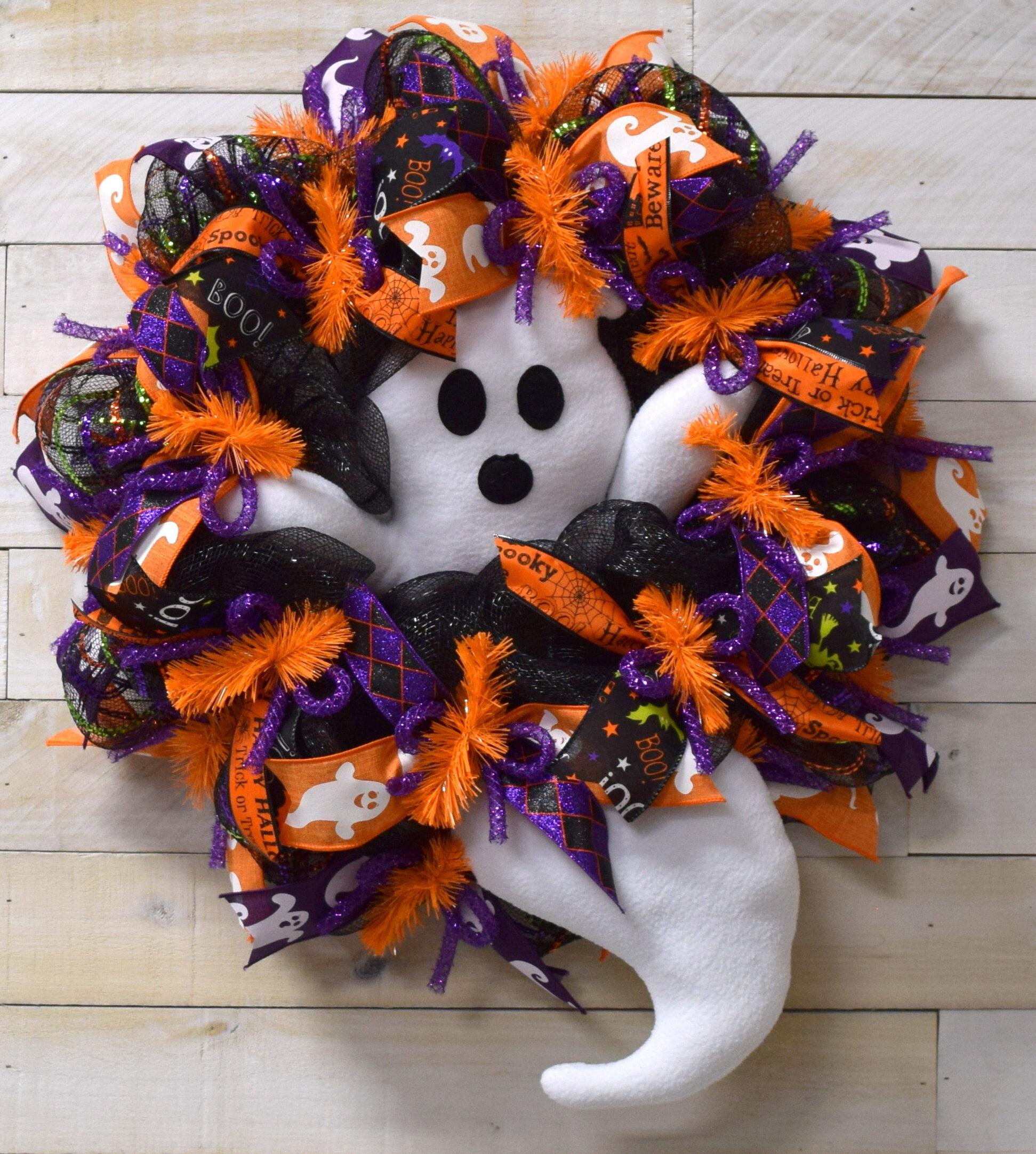 Halloween Door Wreath wreath Halloween Halloween Mesh Wreath Ghost Halloween Wreath Halloween Wreath Ghost Door Wreath ghost wreath