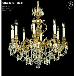 American Brass & Crystal Rosetta 8-Light Candle Style Chandelier