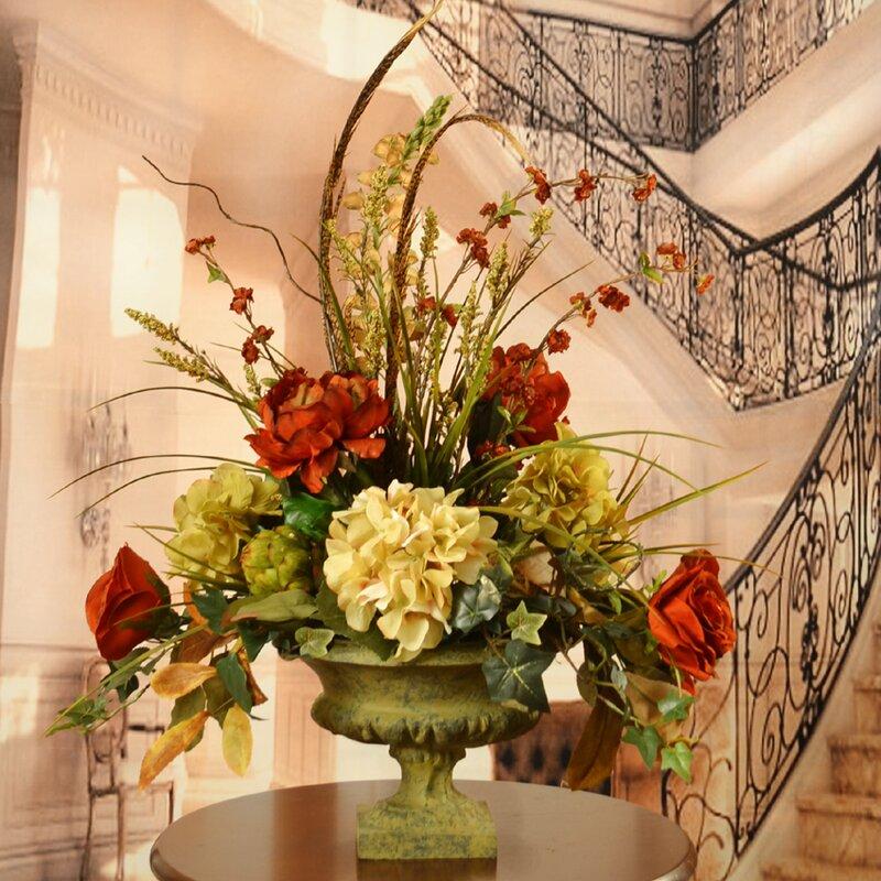 Floral home decor peony and hydrangea silk flower arrangement with peony and hydrangea silk flower arrangement with feathers mightylinksfo Images