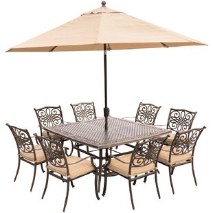 Carleton 9 Piece Metal Dining Set with Cushions