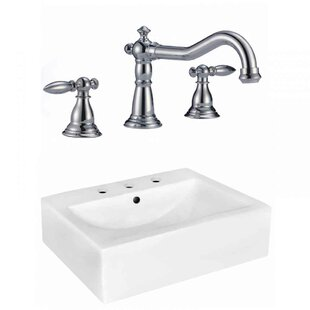 Royal Purple Bath Kitchen Xena Farmhouse Semi-Recessed Ceramic Rectangular Vessel Bathroom Sink with Faucet and Overflow
