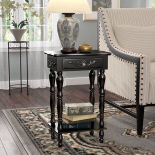 Charlton Home Isabella Carved End Table With Storage