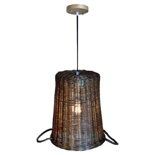 Misael Rattan 1-Light Inverted Pendant by Bay Isle Home