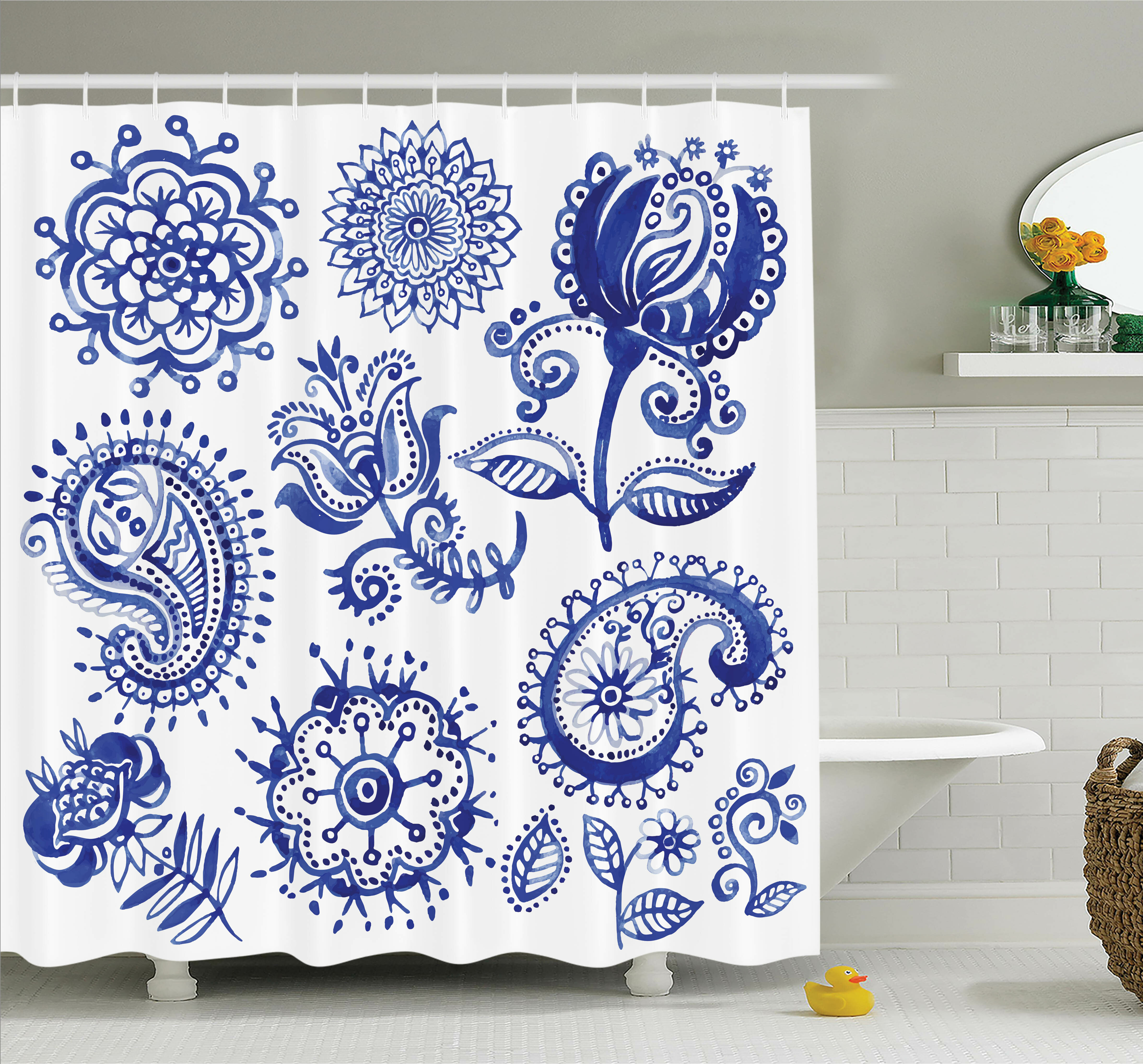 Ambesonne Sketch Hot Air Balloon Travel Shower Curtain Set
