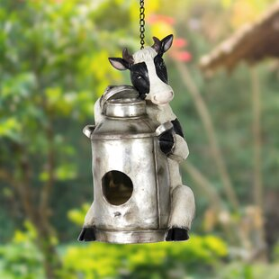 Exhart Cow with Milk Pail 12 in x 7.5 in x 6 in Birdhouse