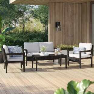 Bracondale 4 Piece Rattan Sofa Set with Cushions by Mercury Row