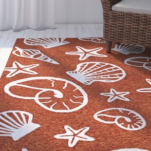 Monticello Cardita Shells Hand-Hooked Terracotta Indoor/Outdoor Area Rug