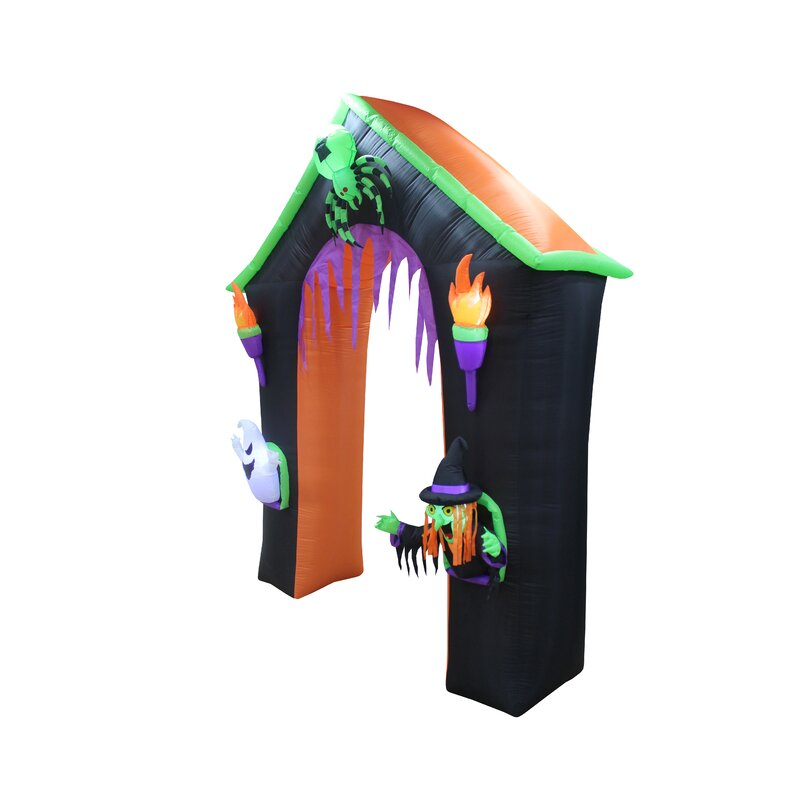 haunted house archway with ghost witch and spider halloween inflatable