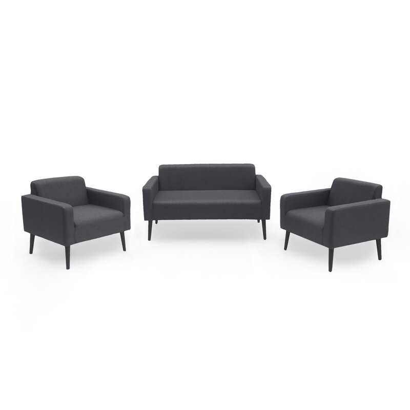 Ivy Bronx  Stein Outdoor 3 Piece Sofa Seating Group with Cushions Cushion Color: Dark Gray, Frame Finish: Black