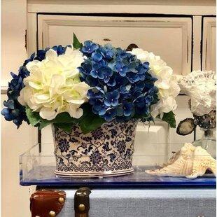 Hydrangea Floral Arrangement in Chinoiserie Vase