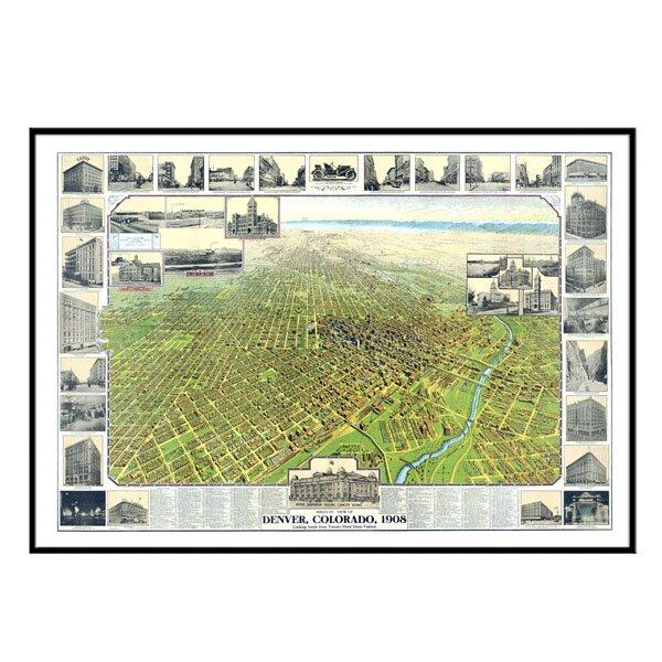 Denver 1908 Historical Print Mounted Framed Wall Map