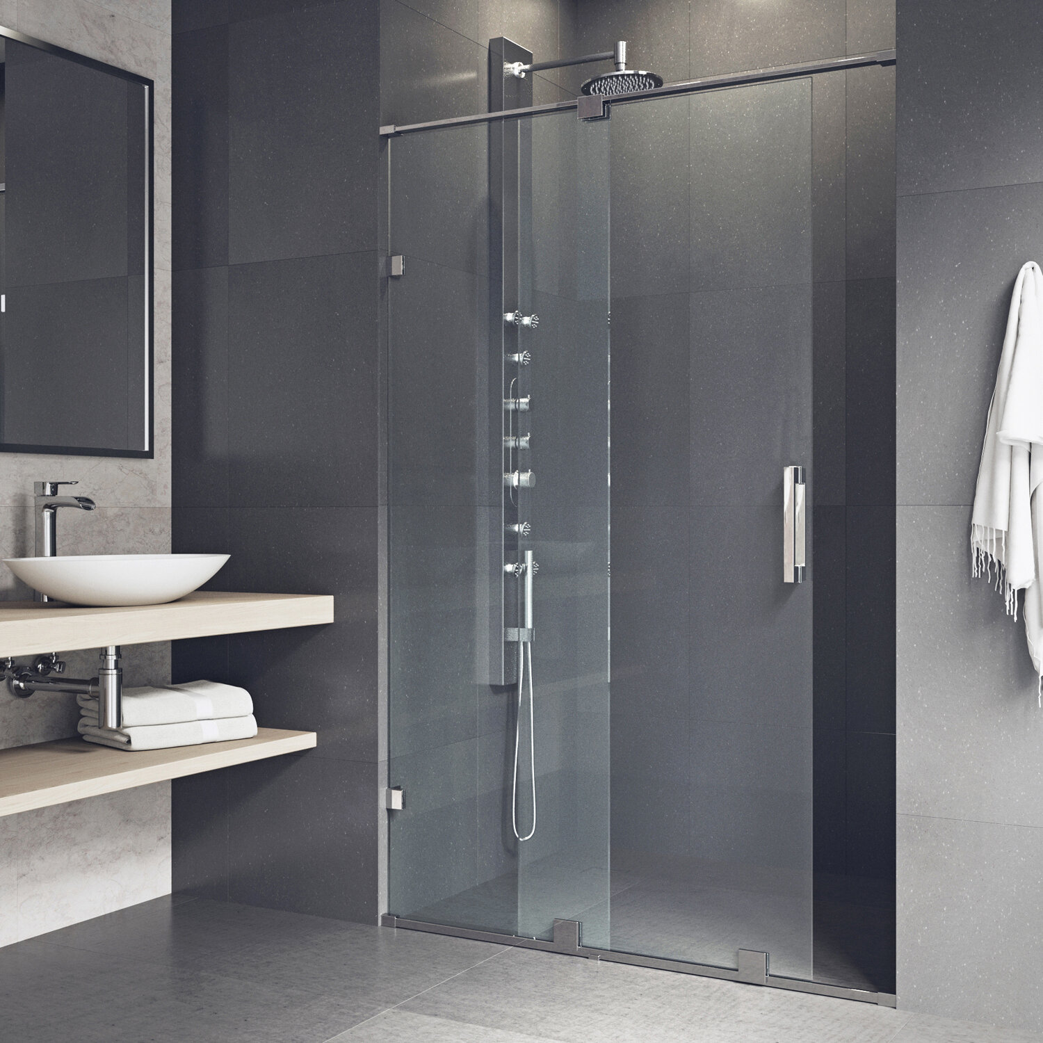 Ryland 62 X 73 Single Sliding Frameless Shower Door With Rollerdisk Technology