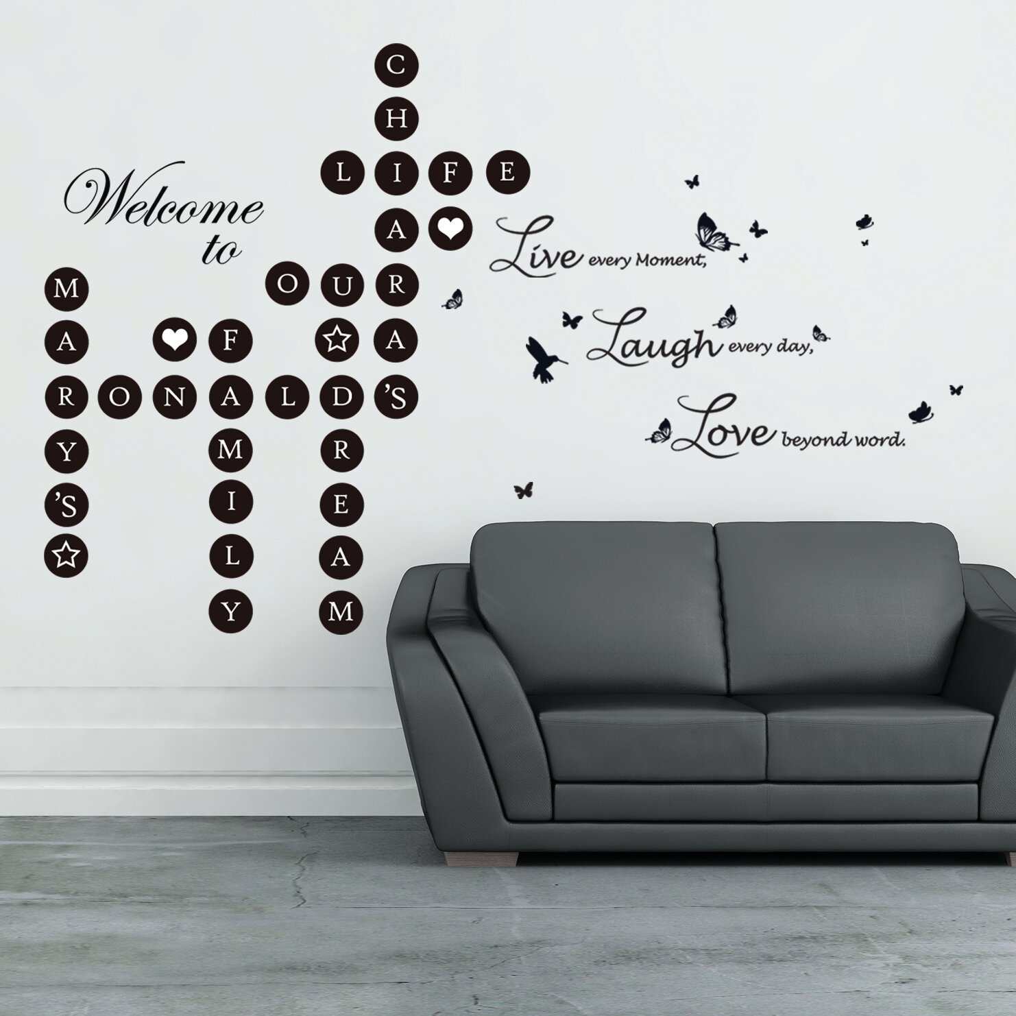 Walplus Word Puzzles And Live Laugh Love Wall Decal Wayfair