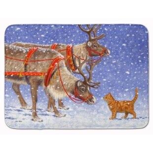 Big Save Reindeer and Cat Memory Foam Bath Rug ByThe Holiday Aisle