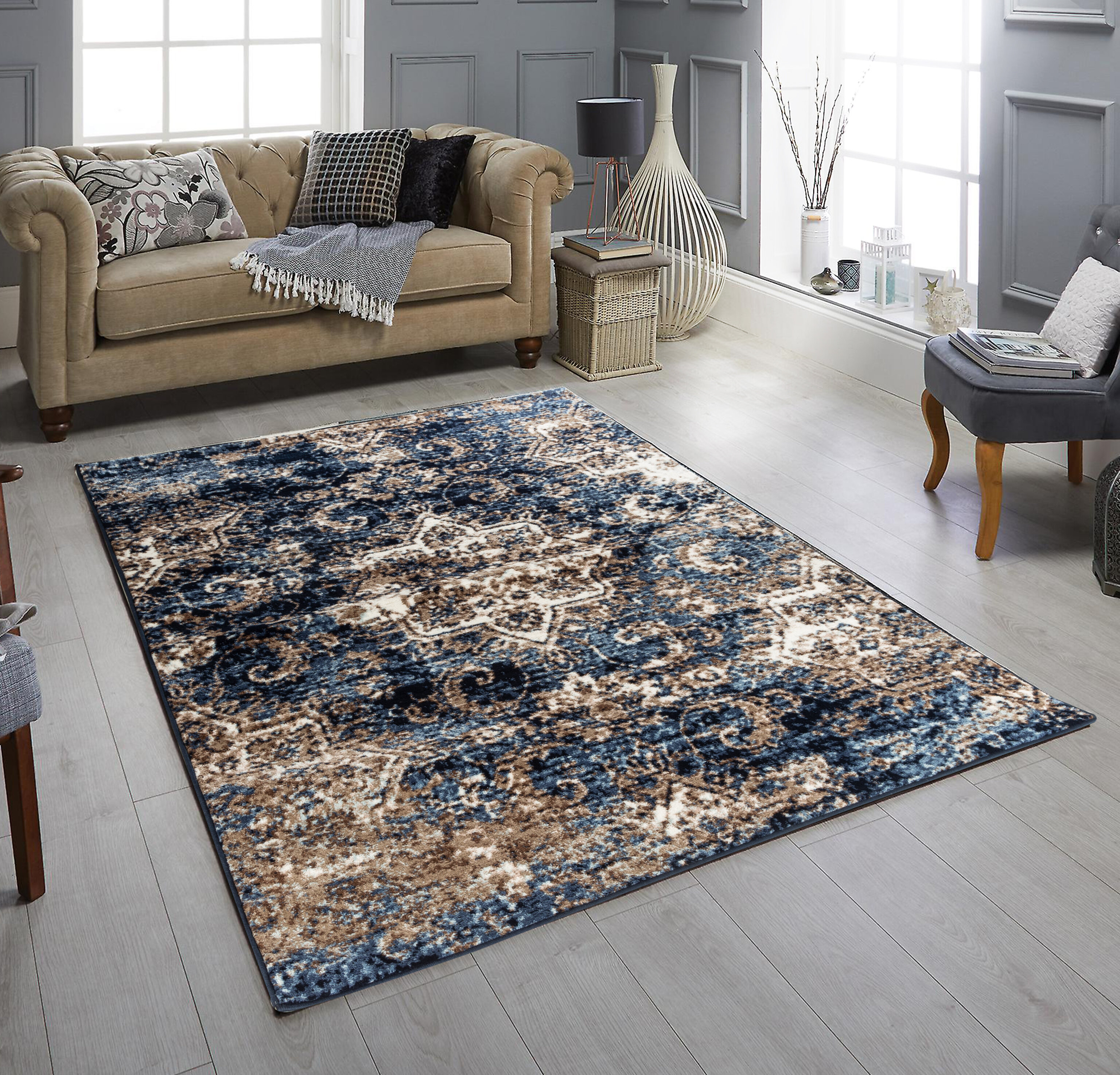 World Menagerie Martique Power Loom Blue Brown Rug Wayfair