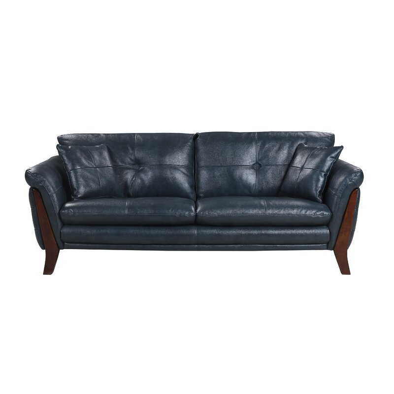 Makeba Mid Century Modern Real Leather Sofa