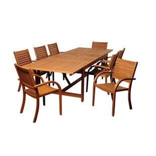 Rosecliff Heights Bridgepointe Traditional Eucalyptus 9 Piece Dining Set
