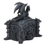 "World Menagerie Celtic Knotwork Grave Tomb Mythical Roaring Fire Dragon Decorative Trinket Jewellery Box Figurine 6.25"" Long Medieval Renaissance Winged Alchemy Dungeons Dragons Decorative Statue"