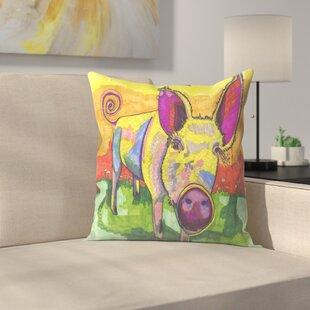 Yellow Pig Throw Pillow