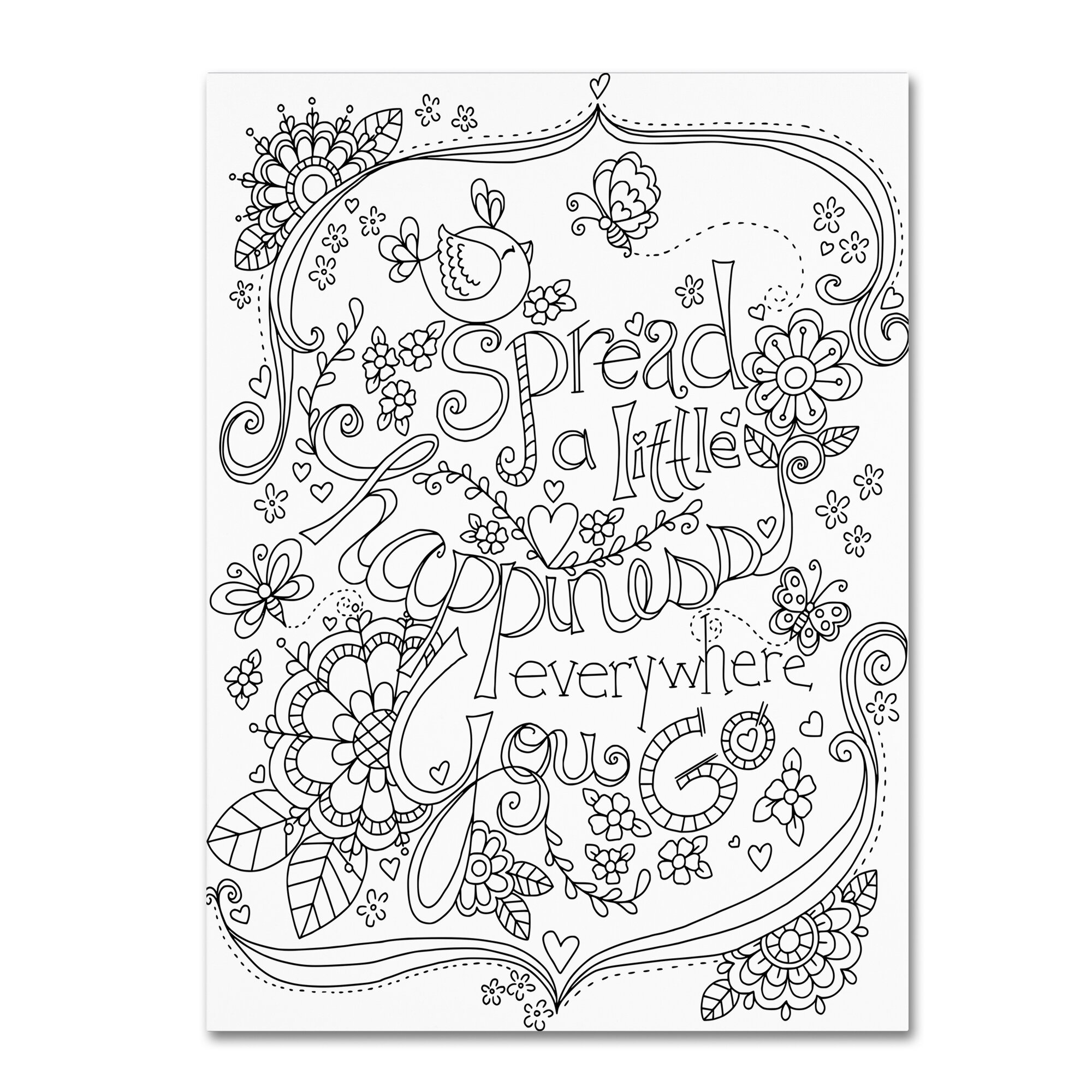 trademark art spread happiness coloring page by jennifer nilsson Seventies Decor trademark art spread happiness coloring page by jennifer nilsson graphic art on wrapped canvas wayfair