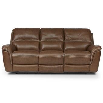 Loon Peak Yeager Genuine Leather Reclining Sofa | Wayfair