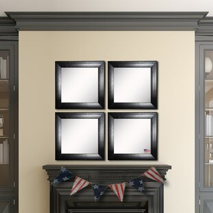 Affordable Hille Stitched Black Leather Wall Mirror (Set of 4) By Winston Porter